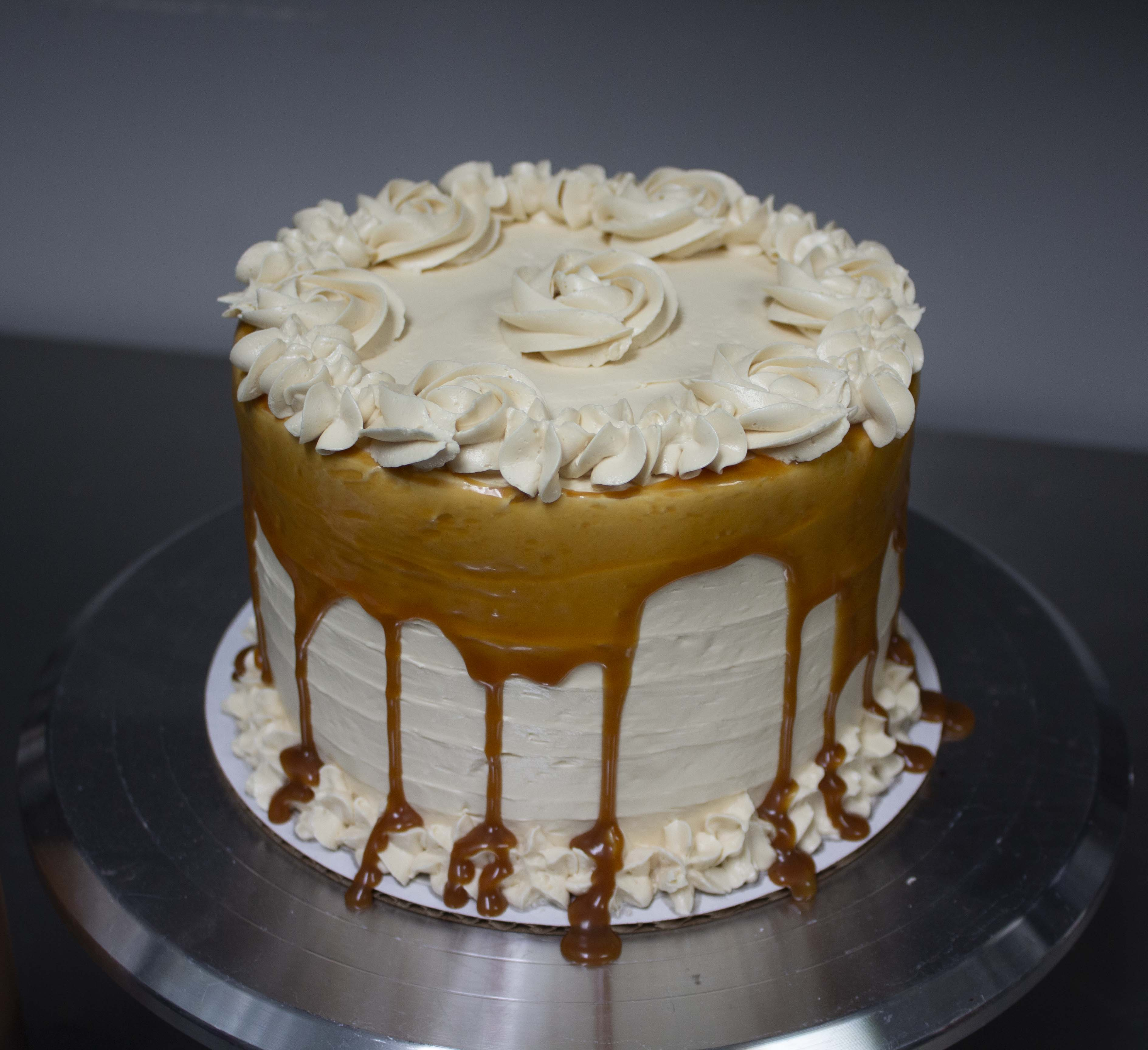 6in round cake with caramel buttercream and caramel drizzle