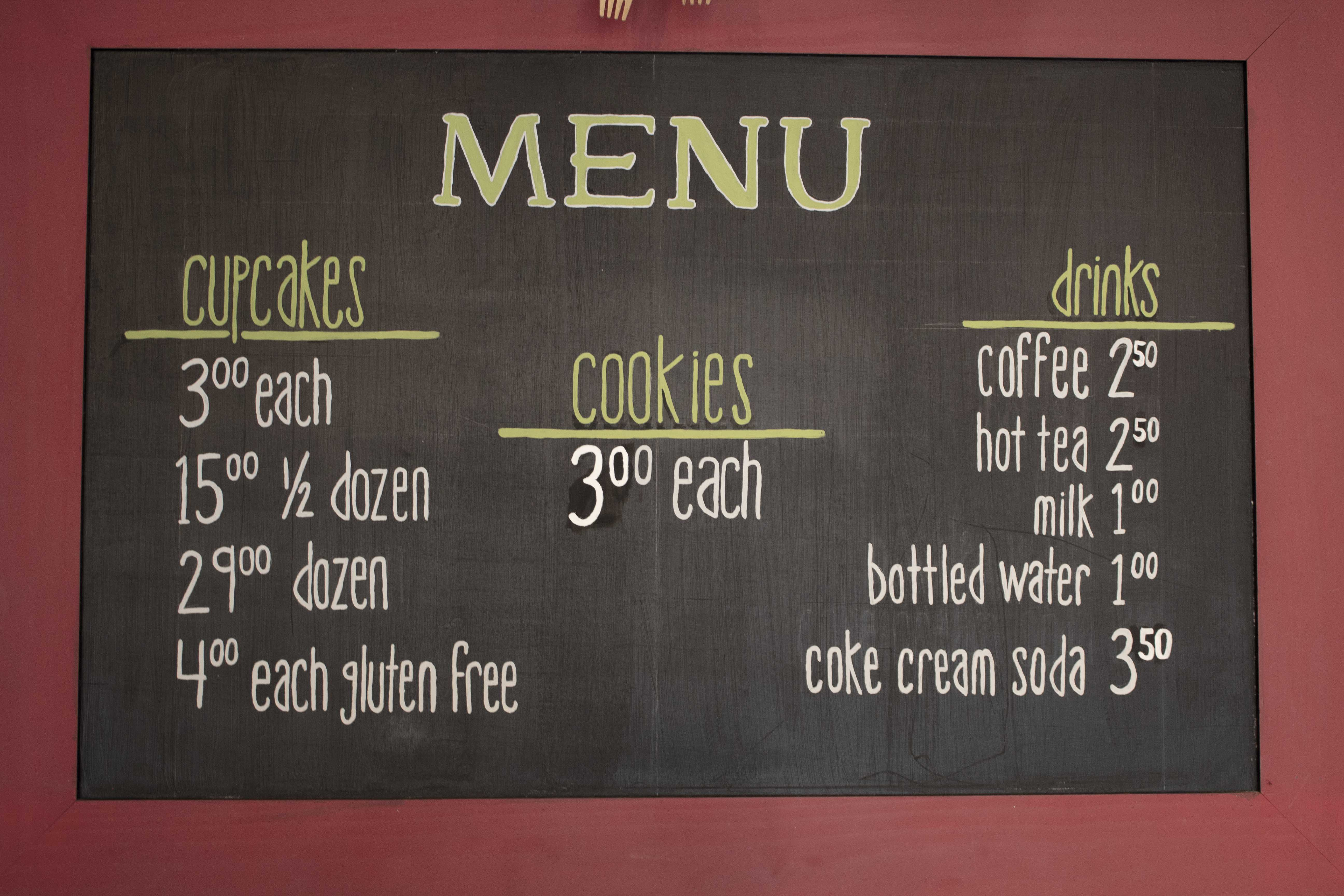 picture of the menu in the storefront