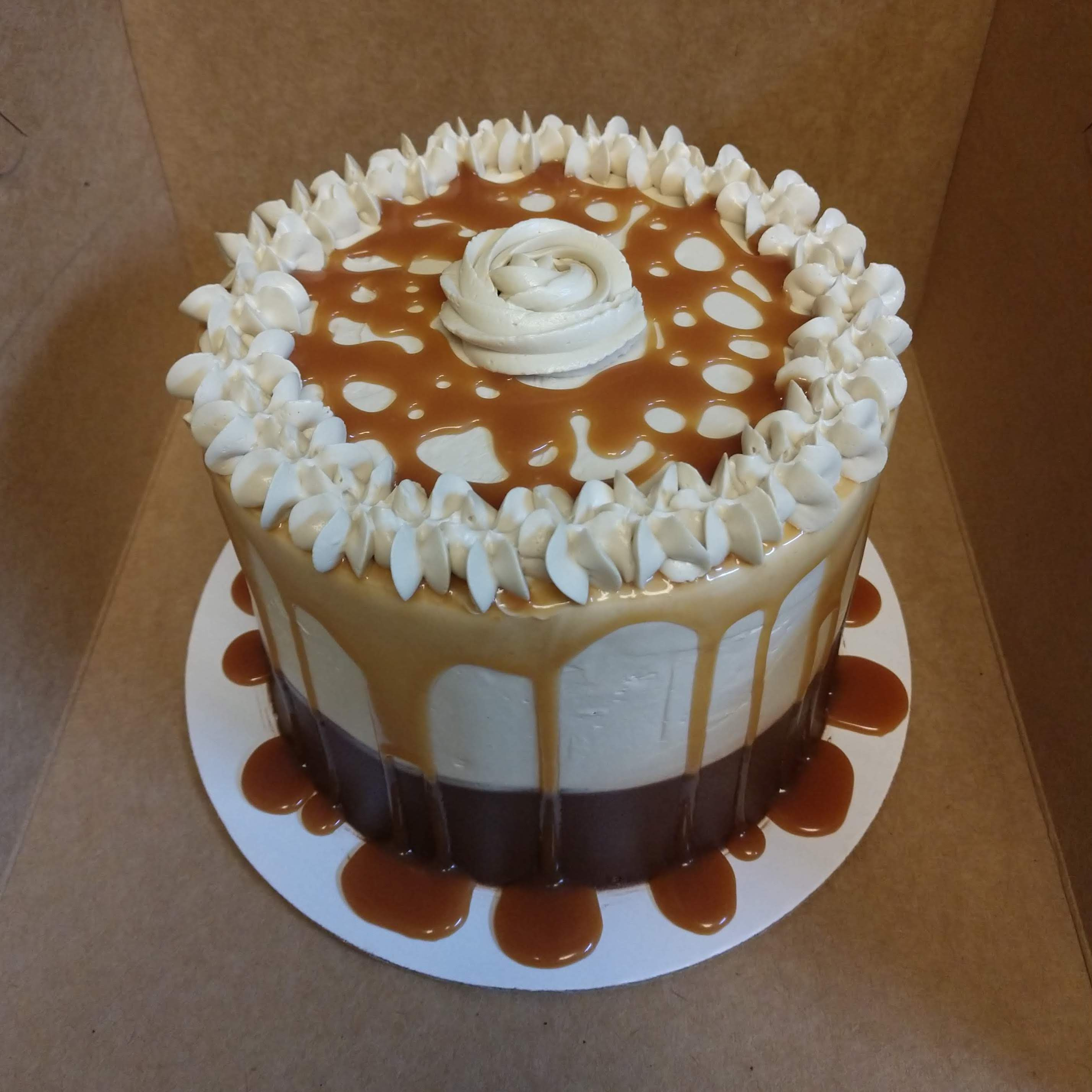 6in cake with caramel buttercream and caramel drizzle