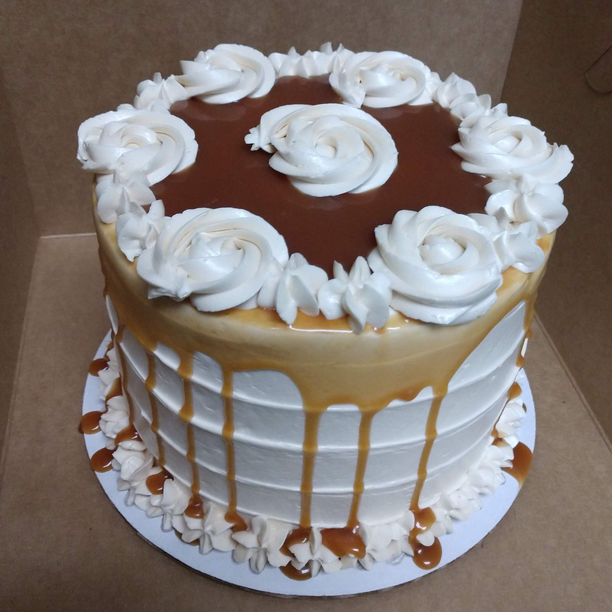 6in cake with vanilla buttercream with caramel drizzle
