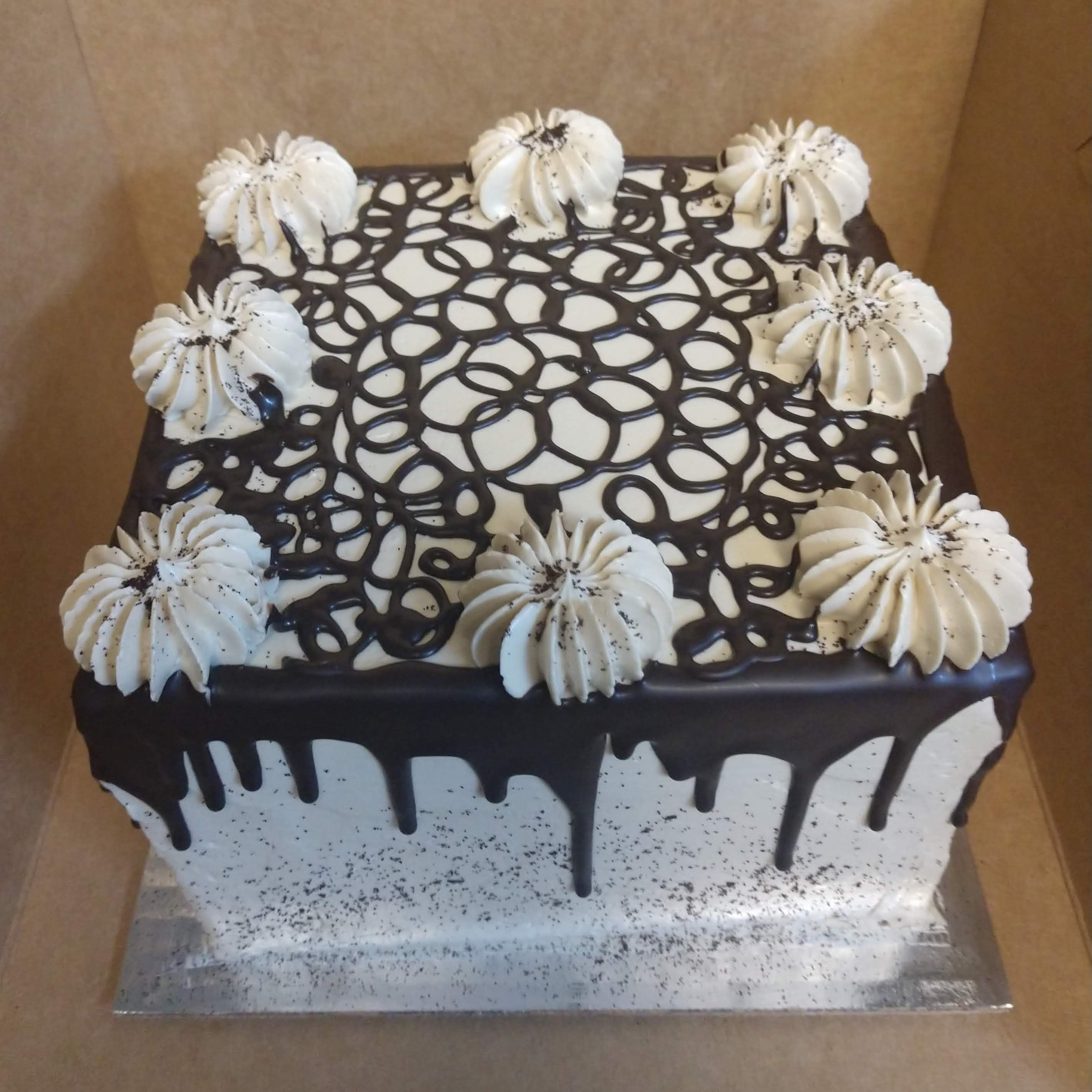 6in square cake with oreo frosting and choc. drizzle