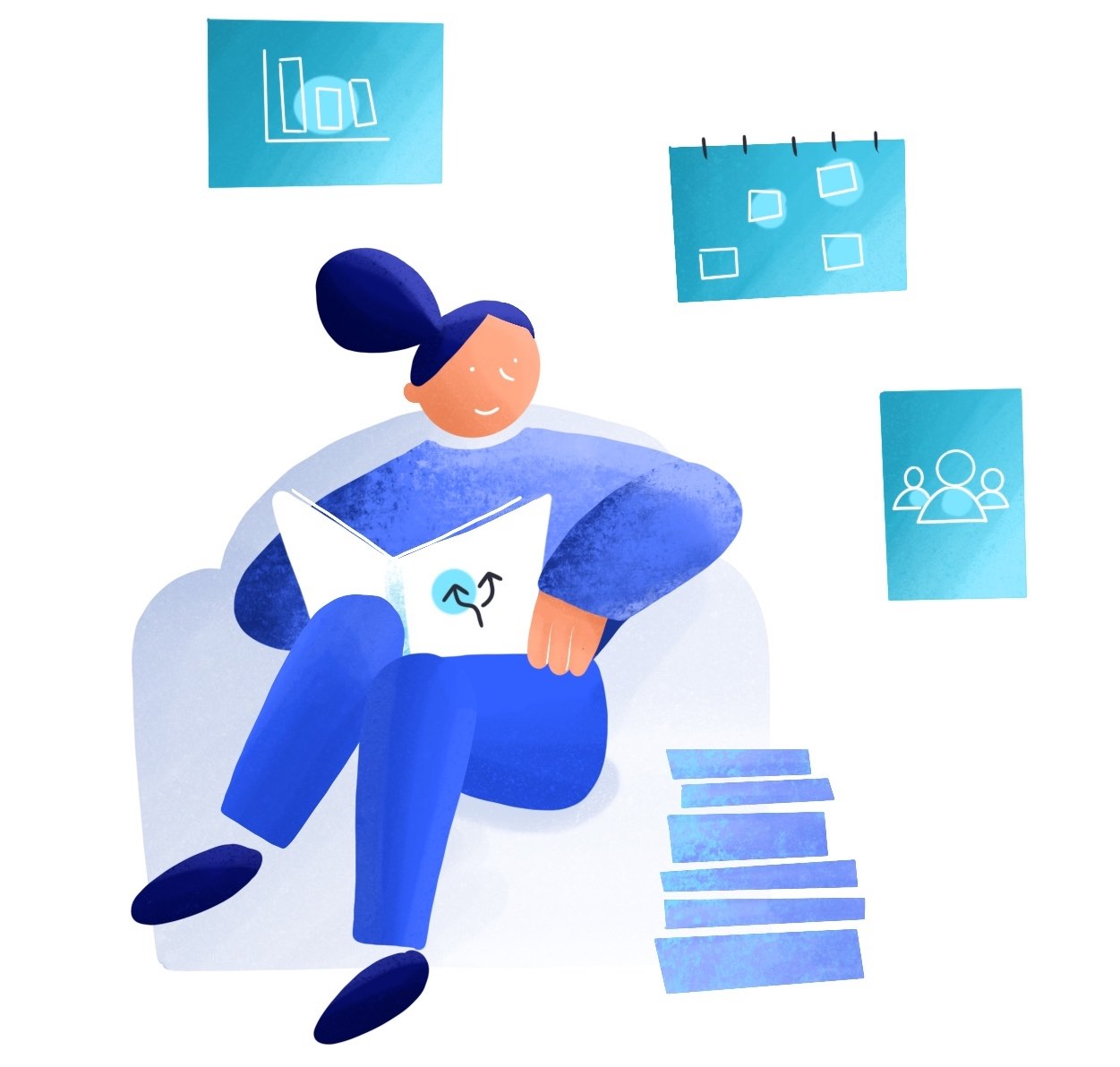 Illustration woman reading tools and templates about the 7 Principles Methodology