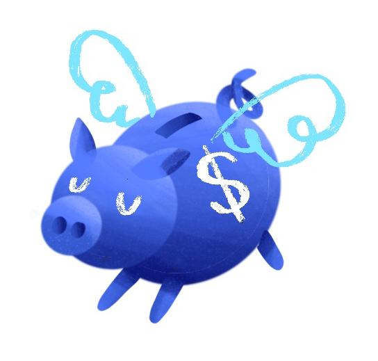 Illustration piggy bank flying free