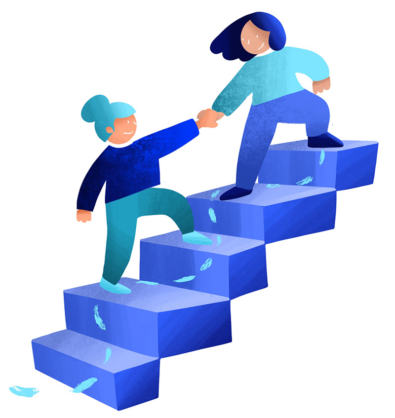 illustration person helping a peer up steps
