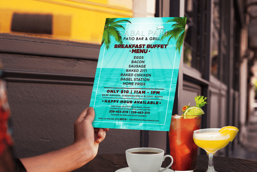 hotel happy hour menu design