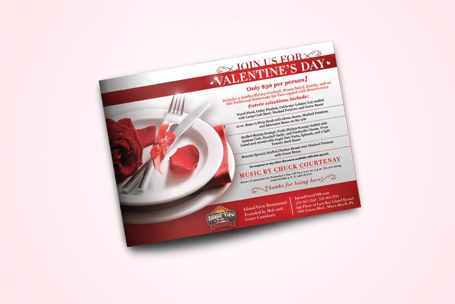 Valentine's day restaurant menu design