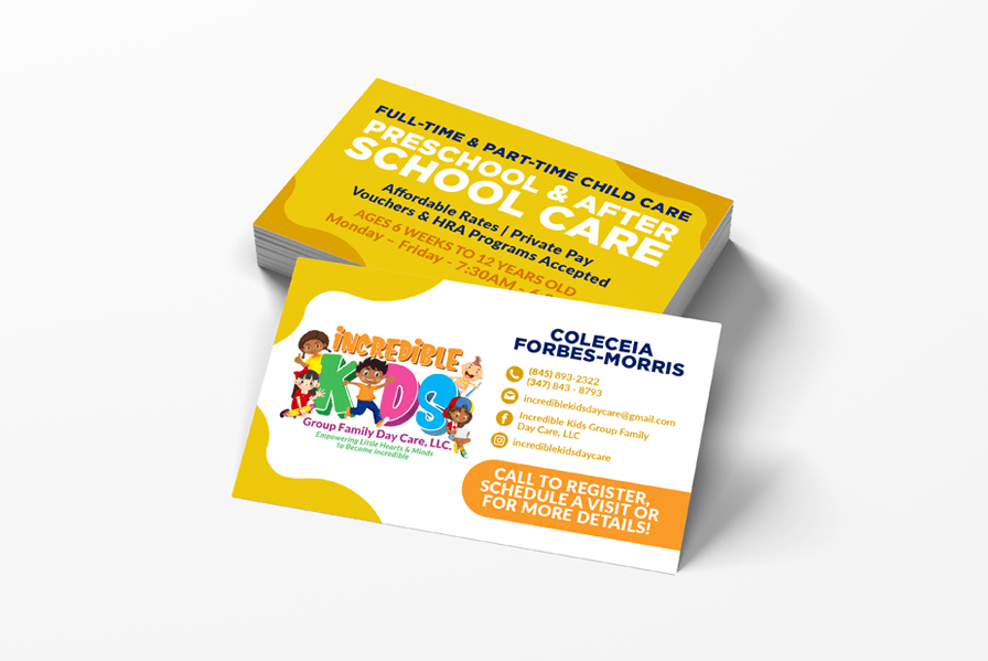 Business card for pre-school