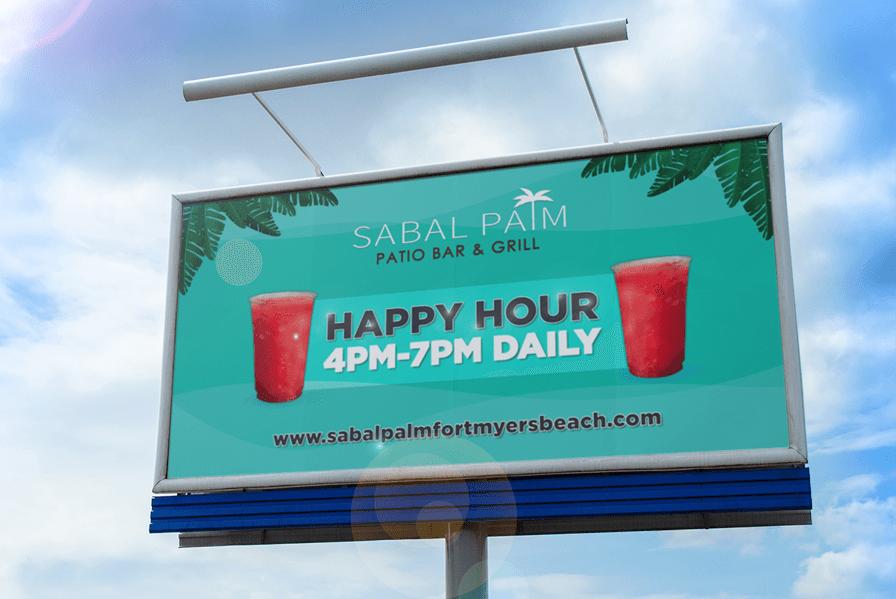 Billboard design happy hour