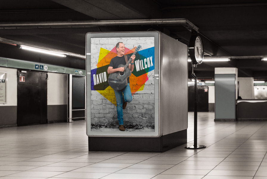 Promotional music poster on subway