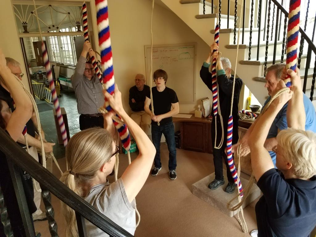 A group of about eight ringers from young to old actively ringing by pulling on their ropes.