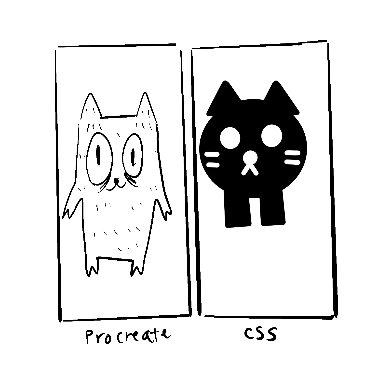 "This picture consists of two panels. On the left side is the drawing of a cat that has details, on the right is a drawing of a cat that is built with shapes. The description on the left panel says ""Procreate"" and on the right says ""CSS""."