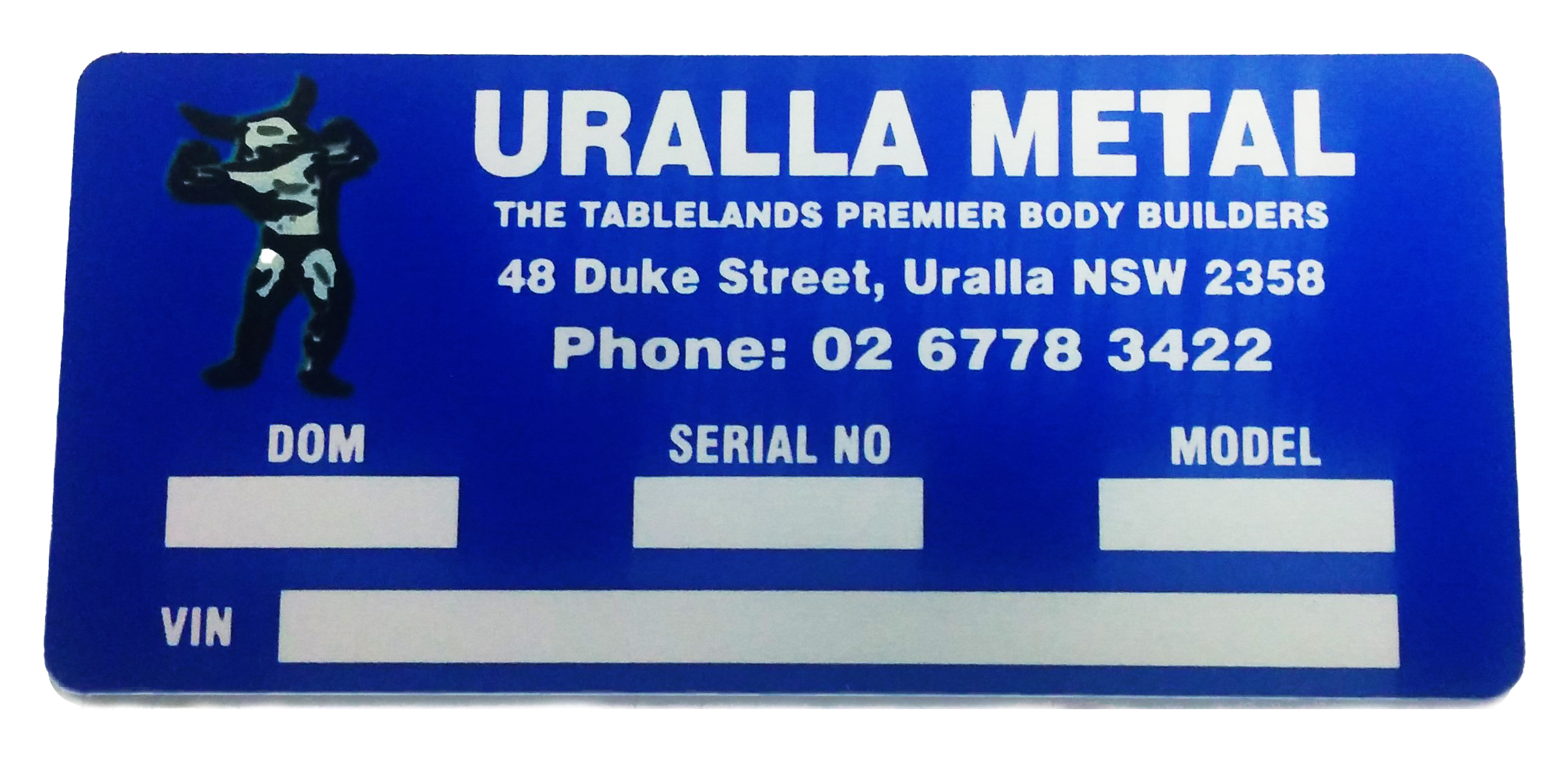 Blue nameplate with room to engrave information.