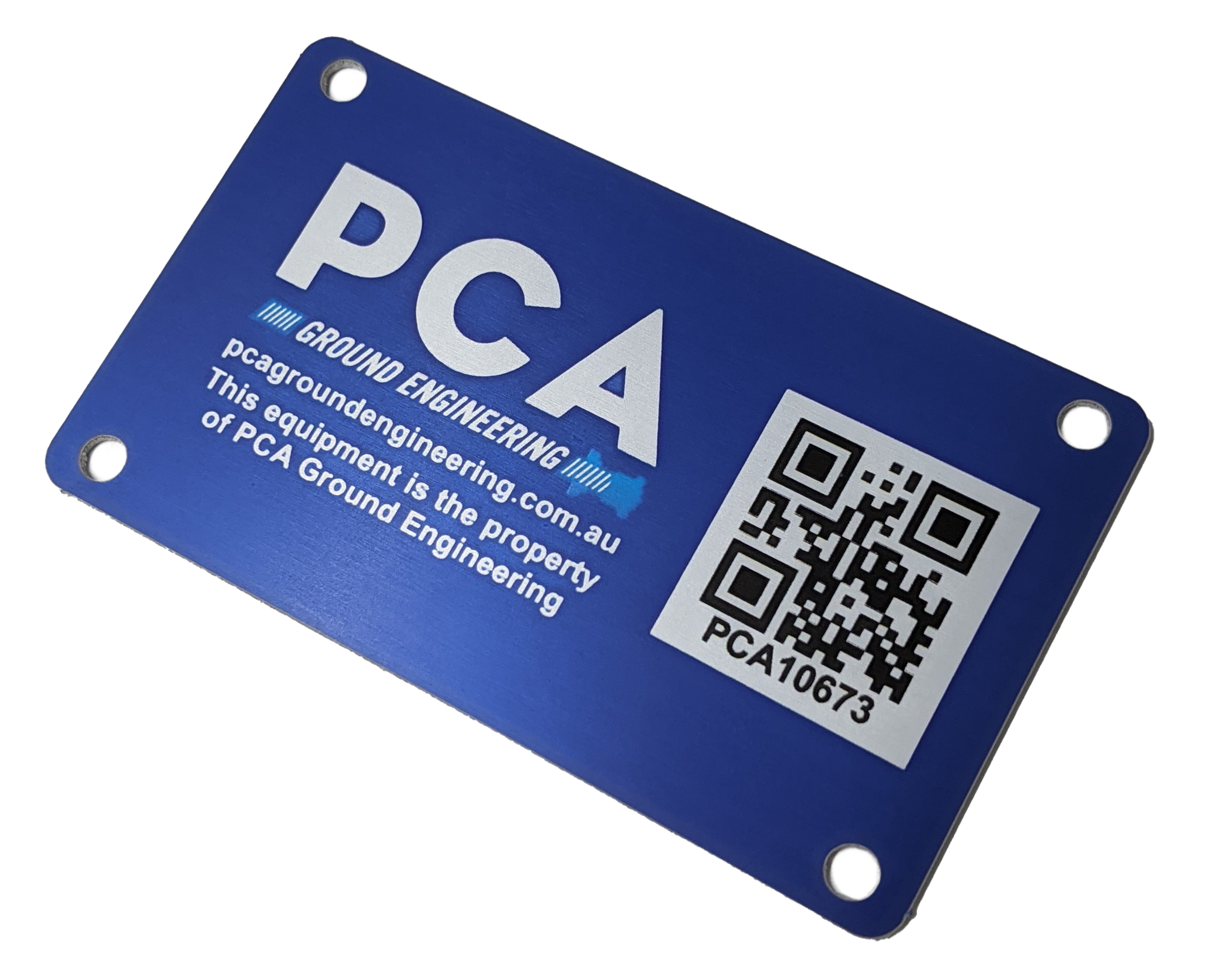Blue asset label with QR code on right side.