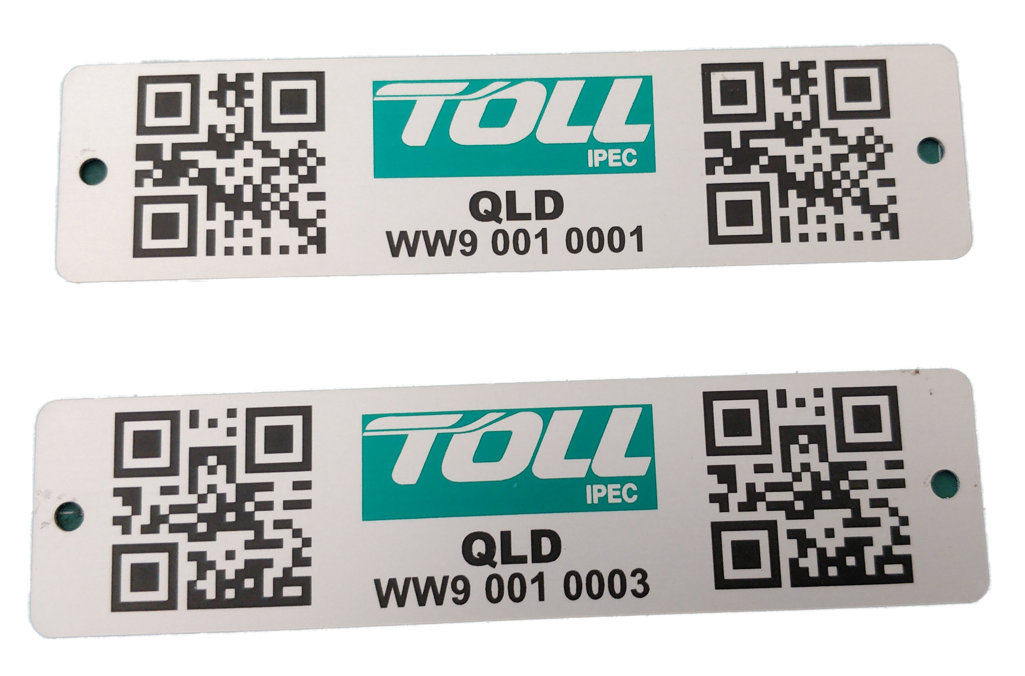 Double QR coded label for equipment bins.