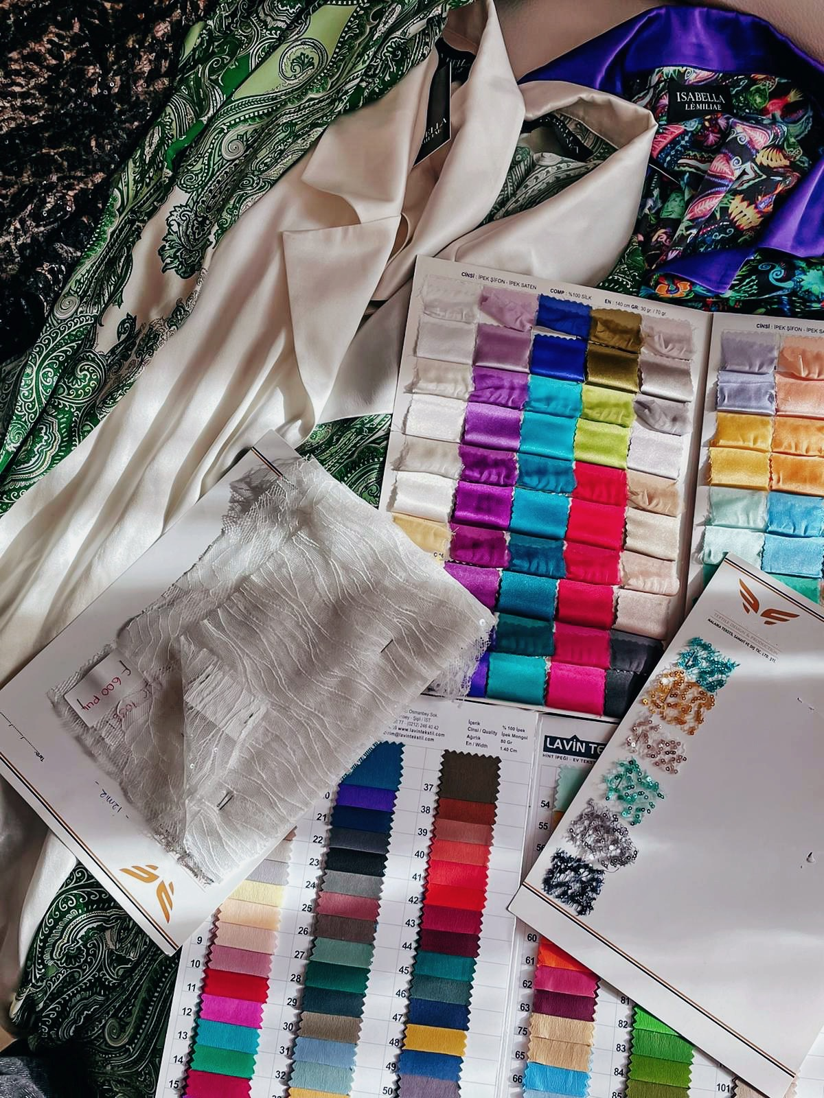 Isabella Lè Miliae fabric samples.