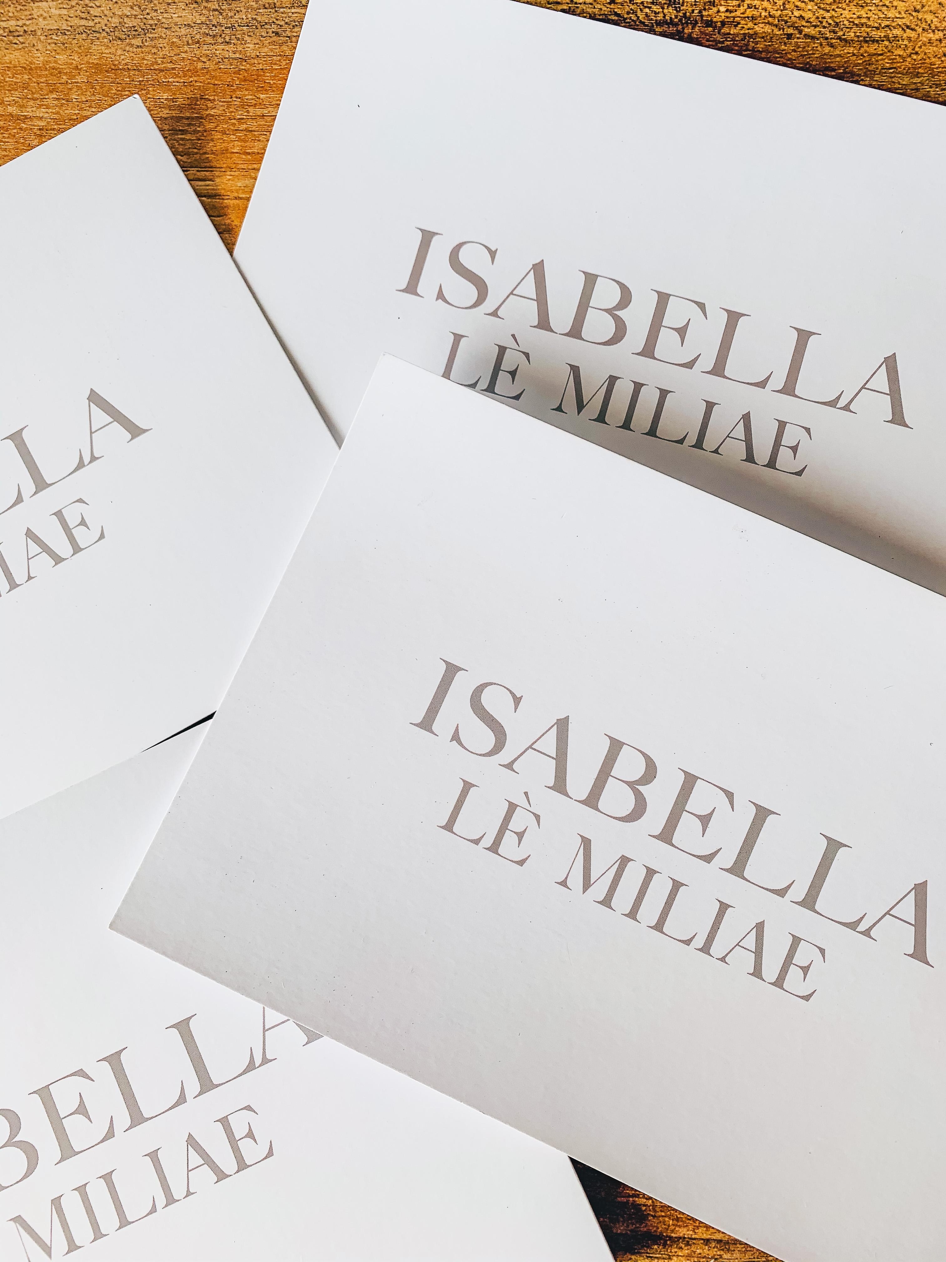 Isabella Lè Miliae gift cards.
