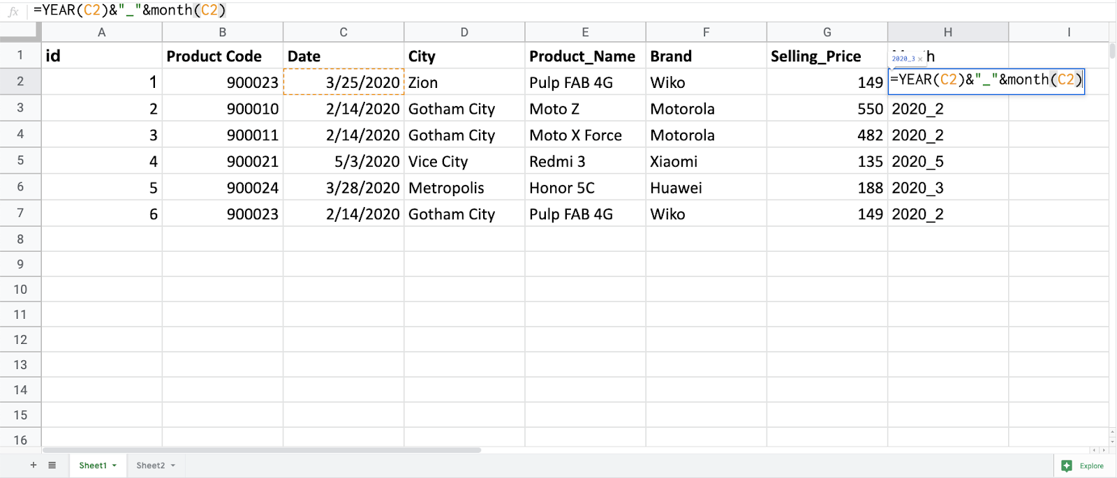 Add calculated columns to a data set step 1