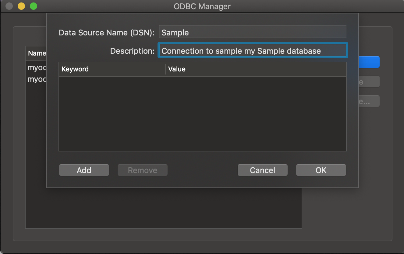 ODBC Administrator dialog box Description