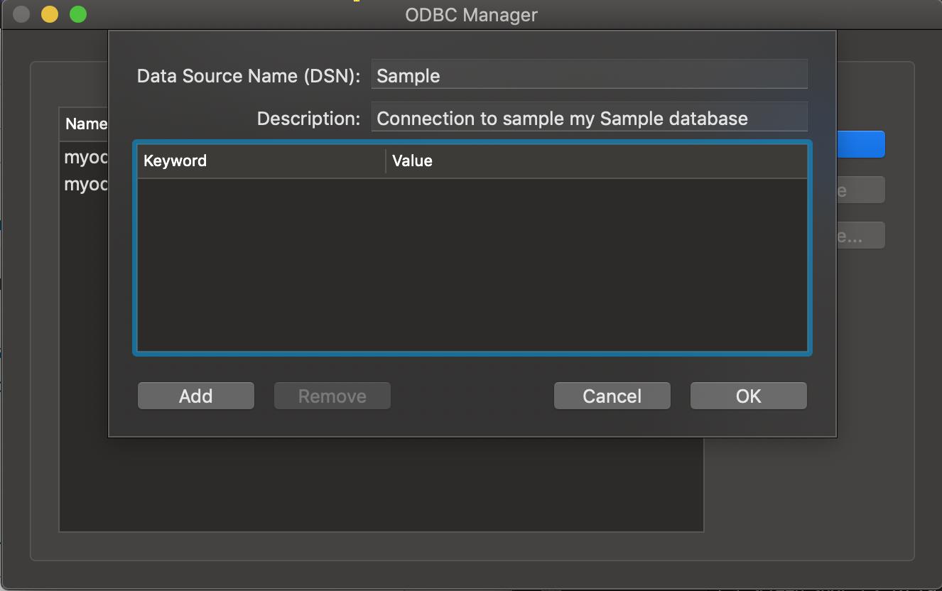 ODBC Administrator dialog box paramaters