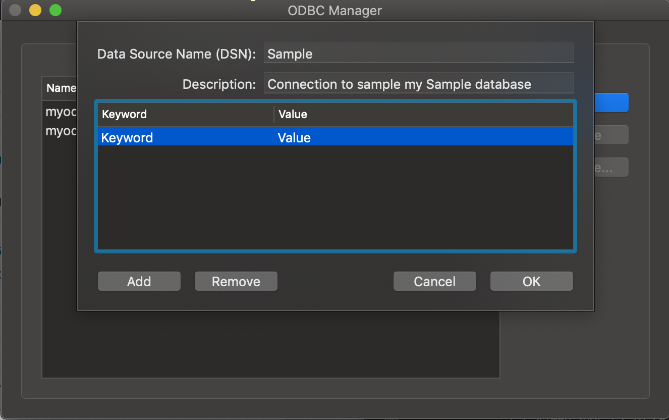 ODBC Administrator dialog box Keywords