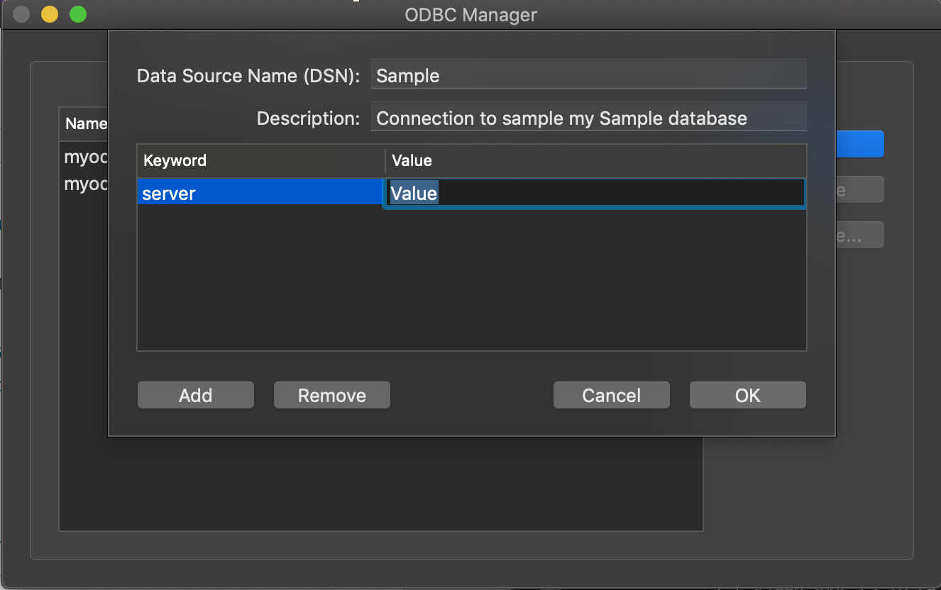 ODBC Administrator dialog box Value change
