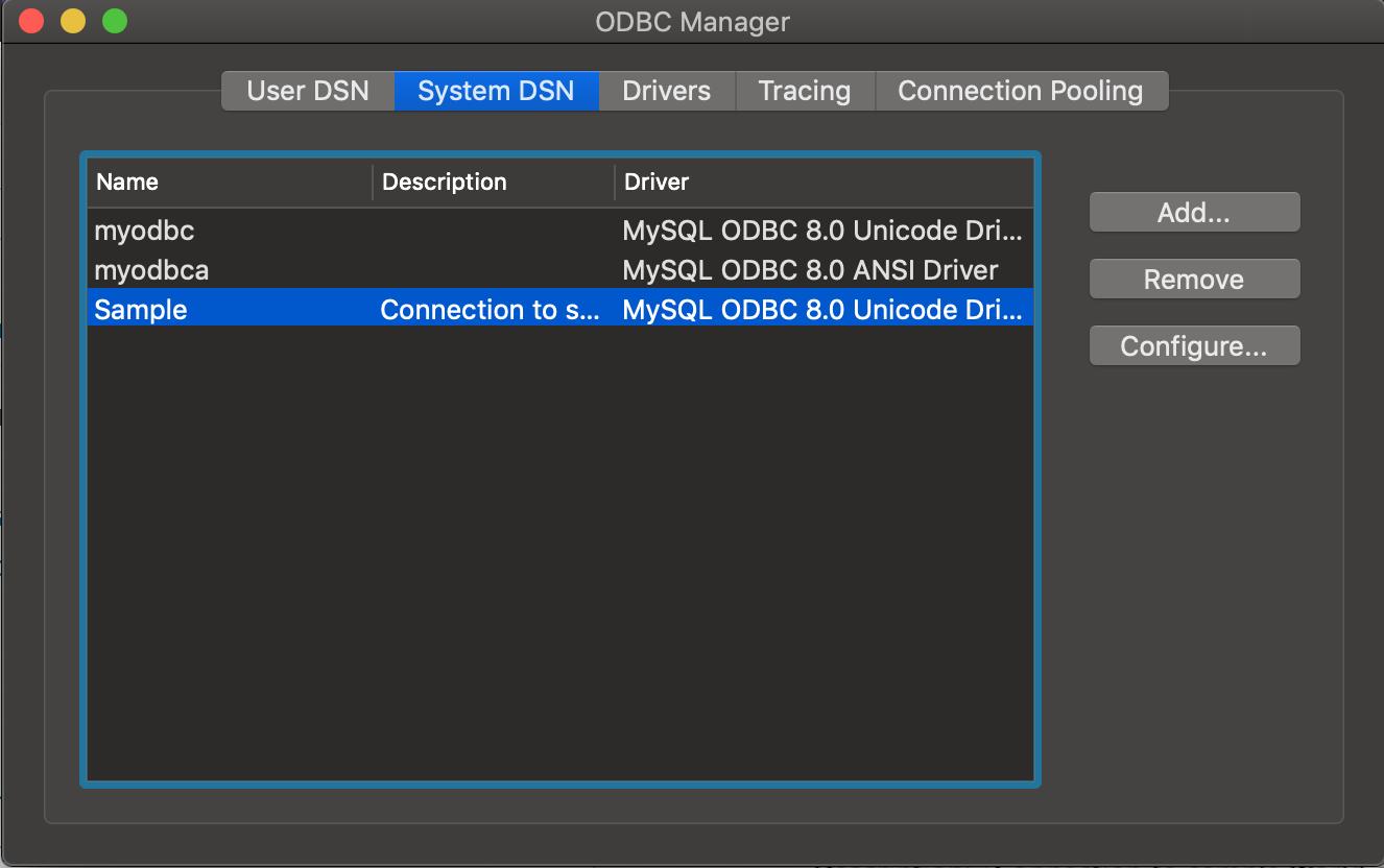 ODBC Administrator dialog box DSN