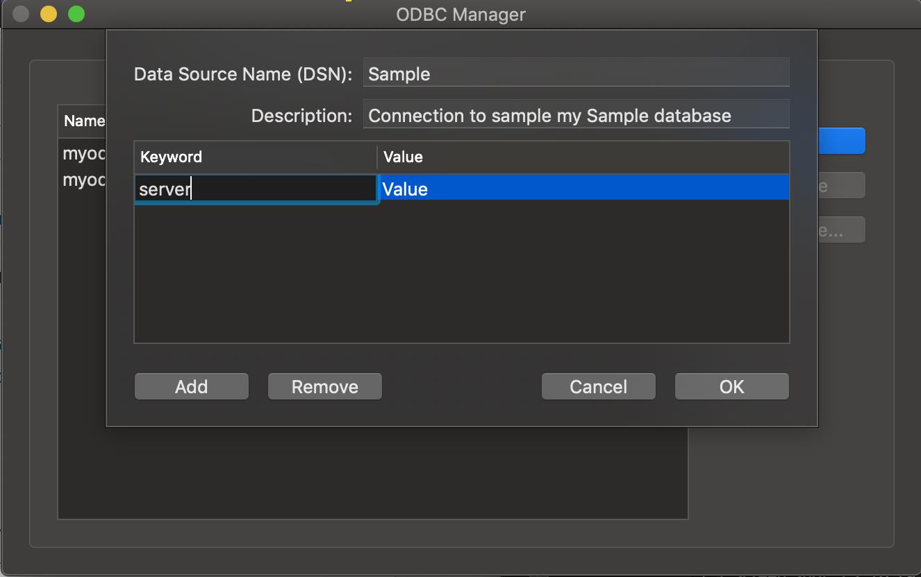 ODBC Administrator dialog box Server