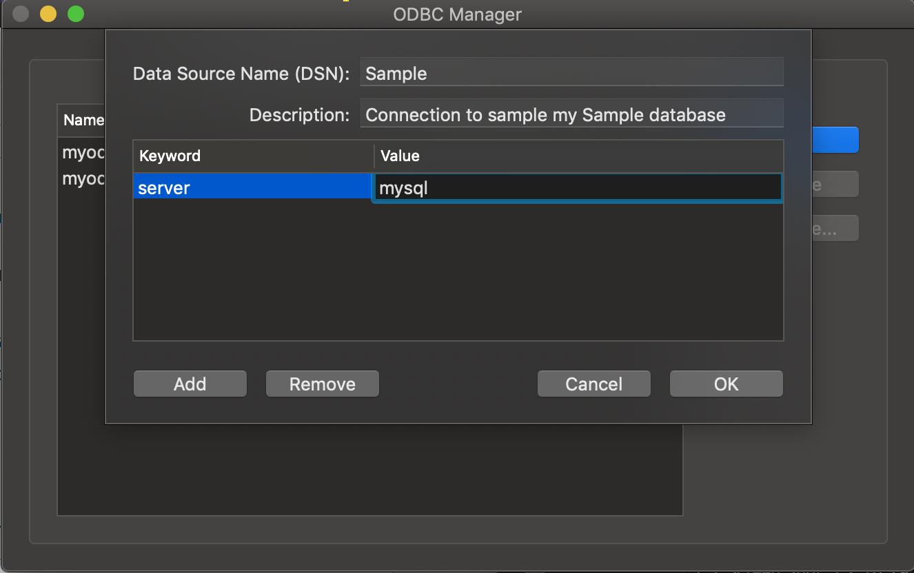 ODBC Administrator dialog box Mysql