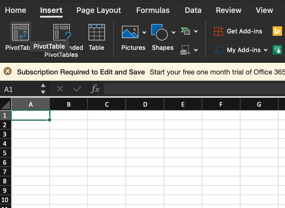 Import your SQL data into Excel - Pivot table