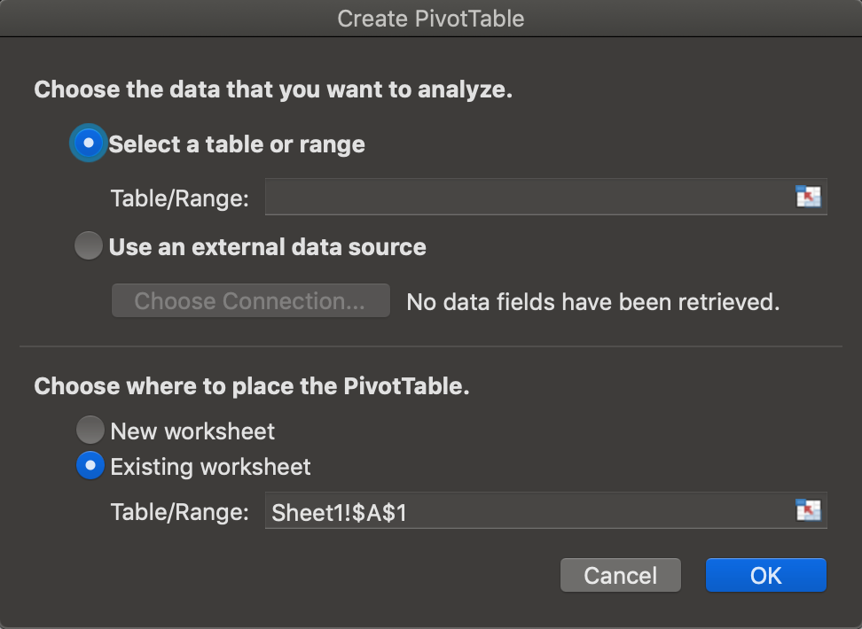 create Pivot table zoomed