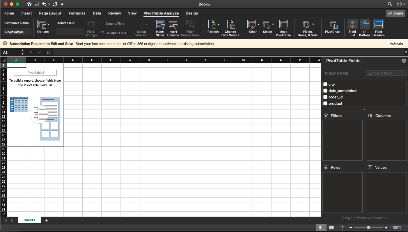 Pivot Table Fields screenshot