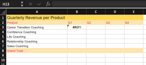 GETPIVOTDATA function #REF! error value screenshot