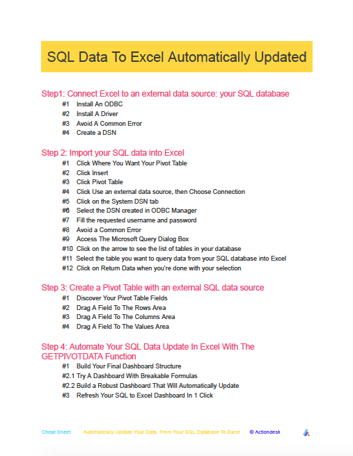 SQL Data To Excel Automatically Updated - Actiondesk Cheat Sheet To Download, Bookmark and Share