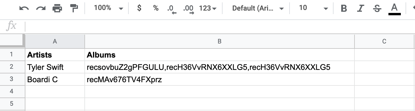 Linked record fields imported from Airtable to Google Sheets are useless.