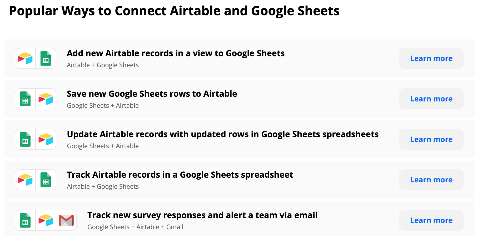Zapier Popular Ways to Connect Airtable and Google Sheets