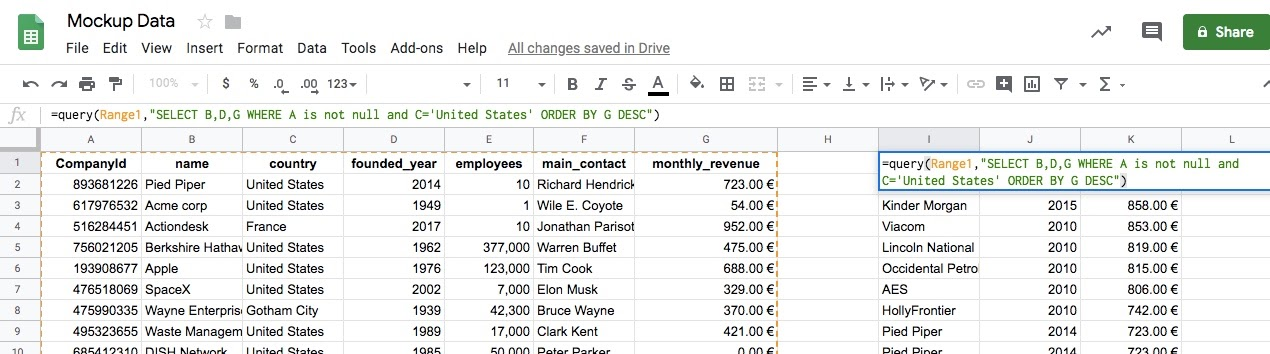 query 7 data sorting