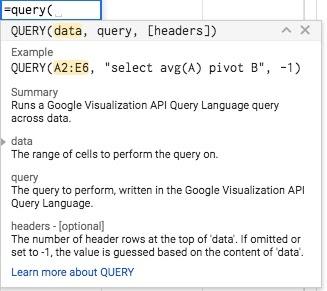 query 1 googlesheets