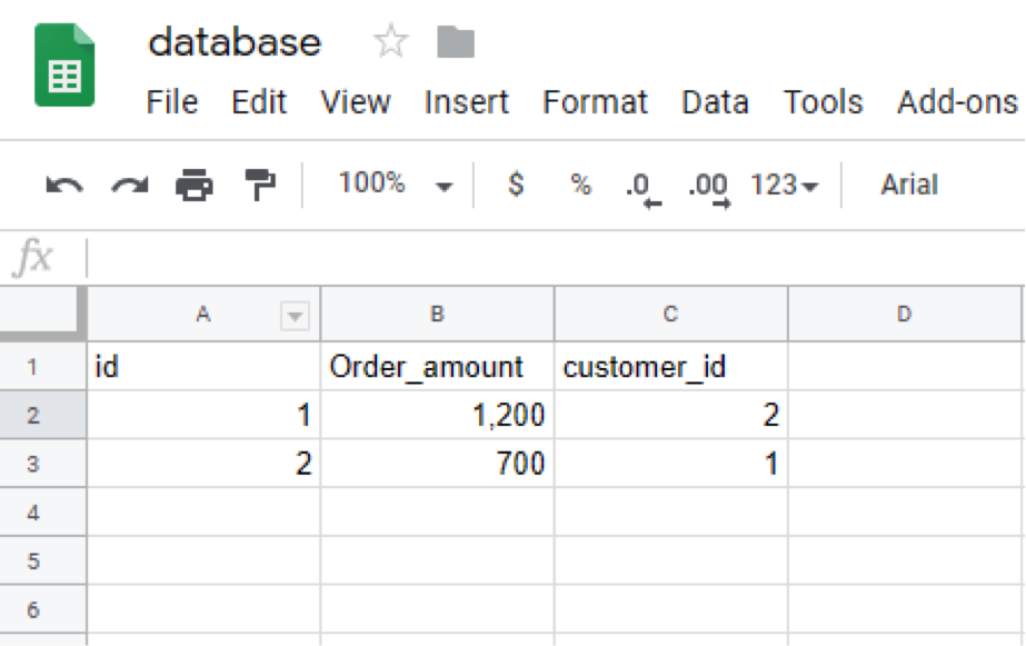 what is a relational database orders screenshot