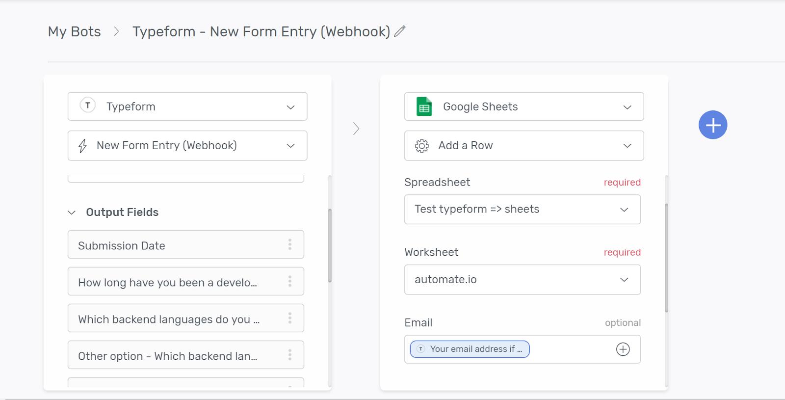 Automate workflow screenshot