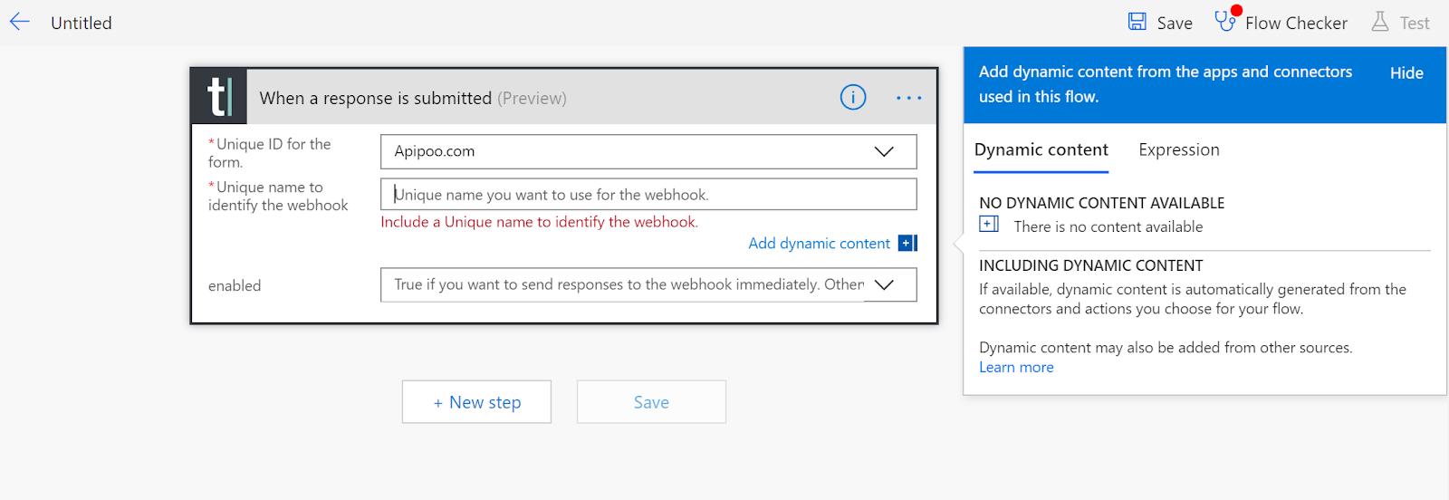 Microsoft Flow typeform screenshot