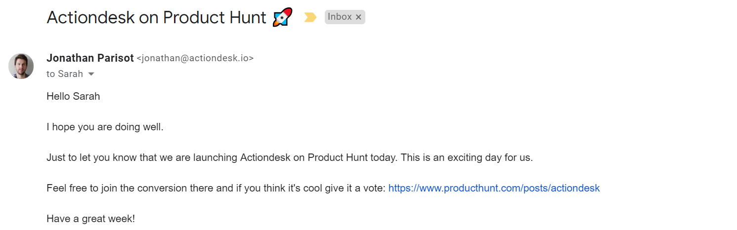 actiondesk producthunt screenshot email