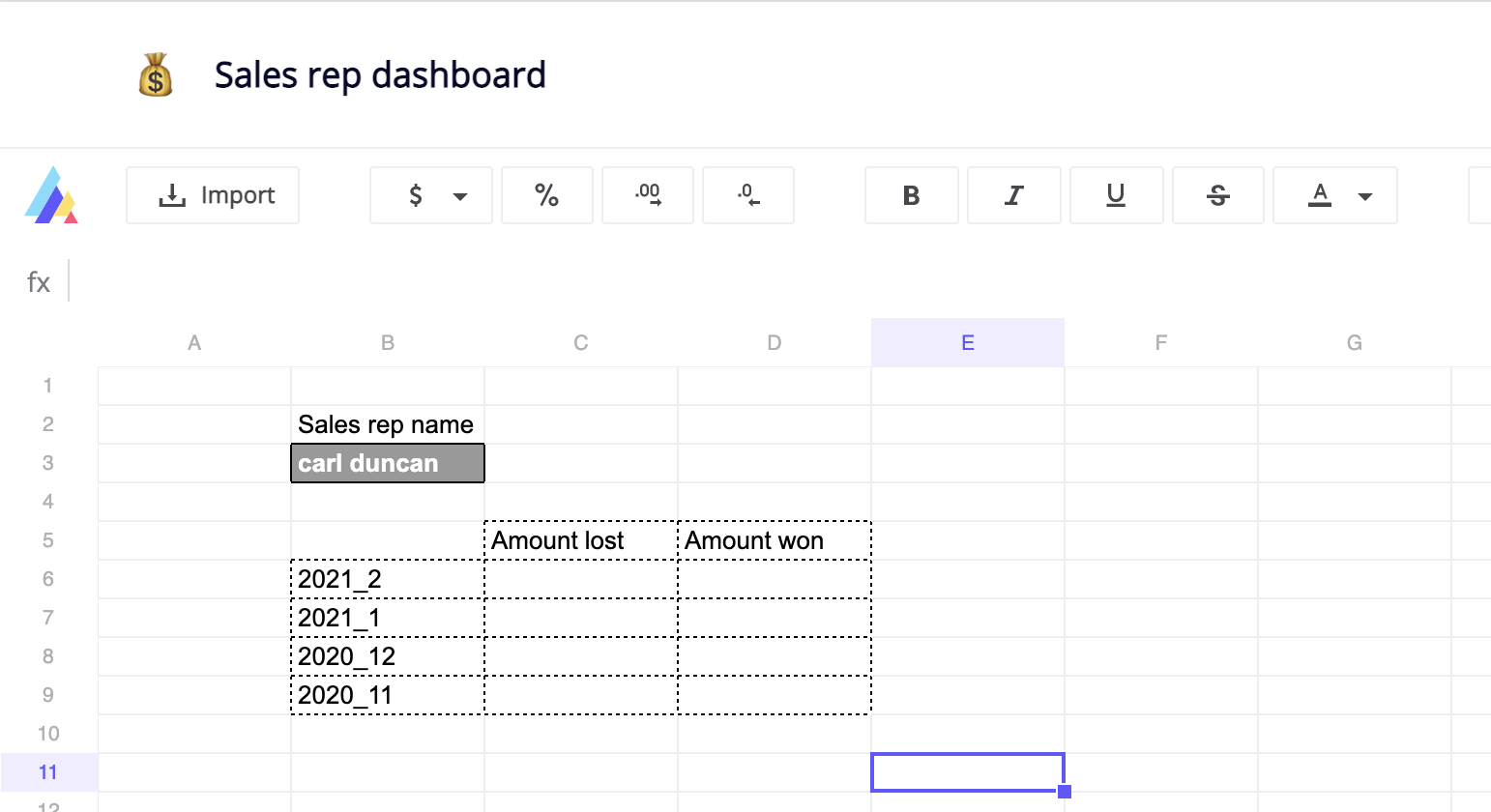 Hubspot sales representative custom dashboard