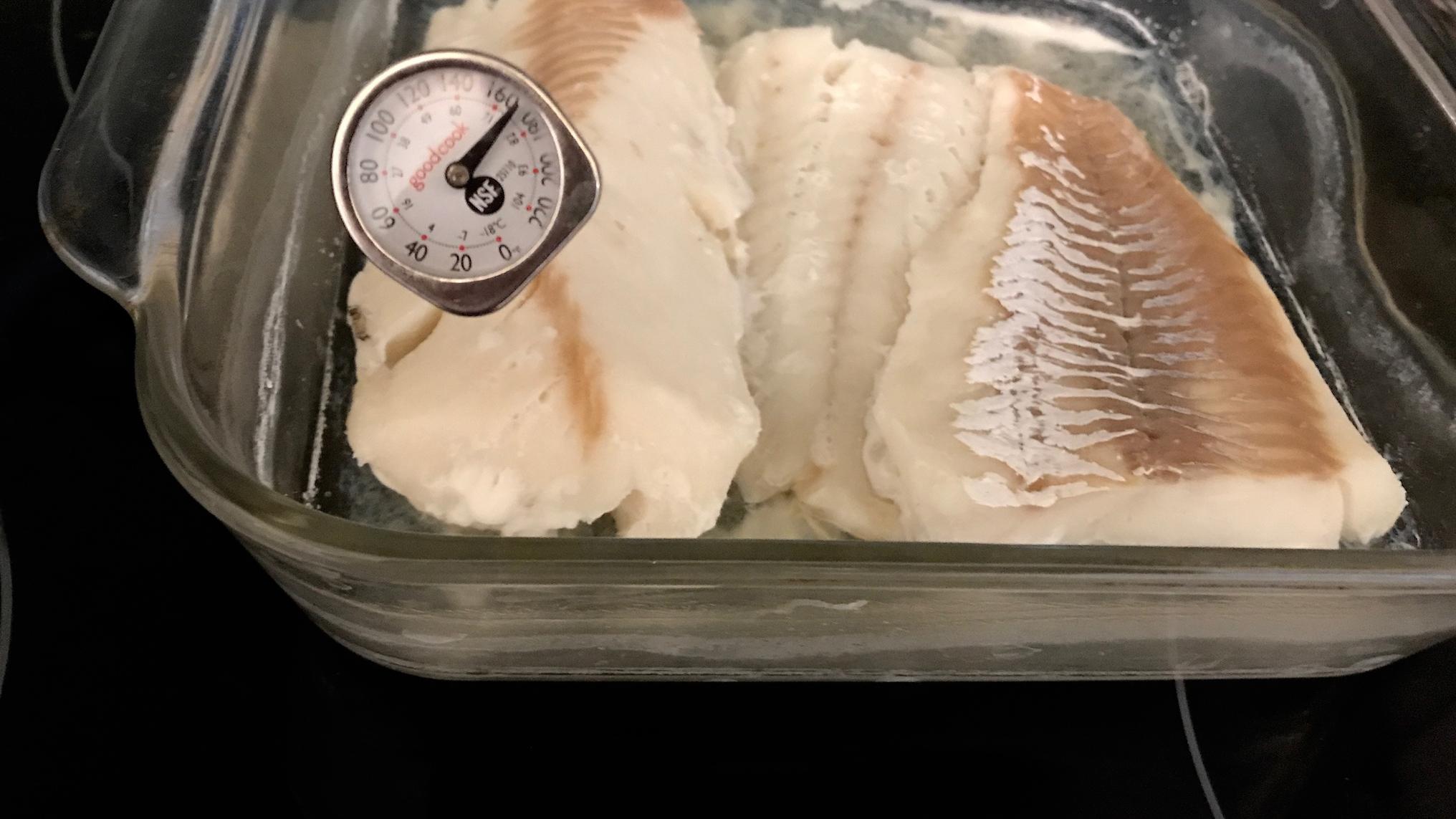Fish in glass baking dish