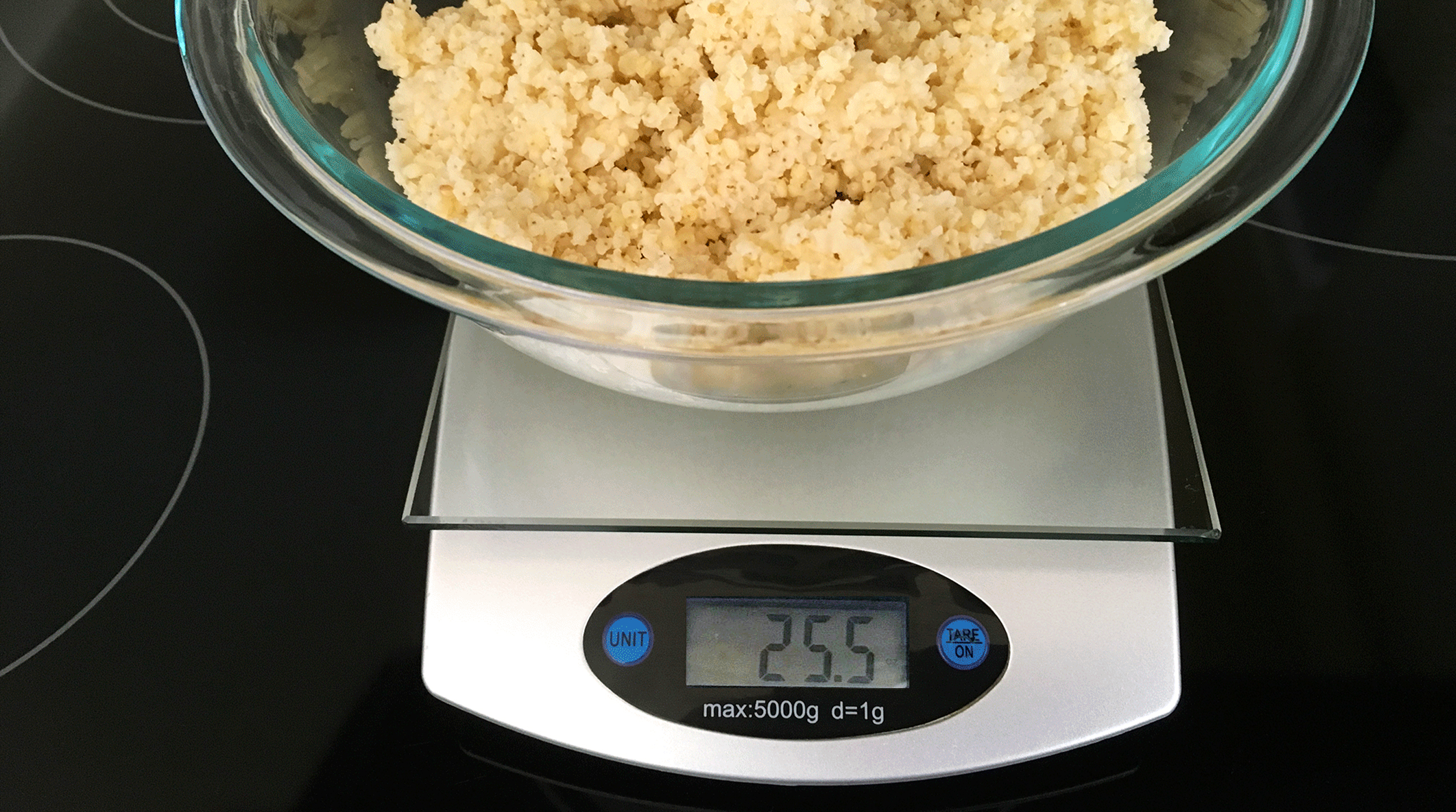 Carbohydrates being weighed on food scale before mixing in