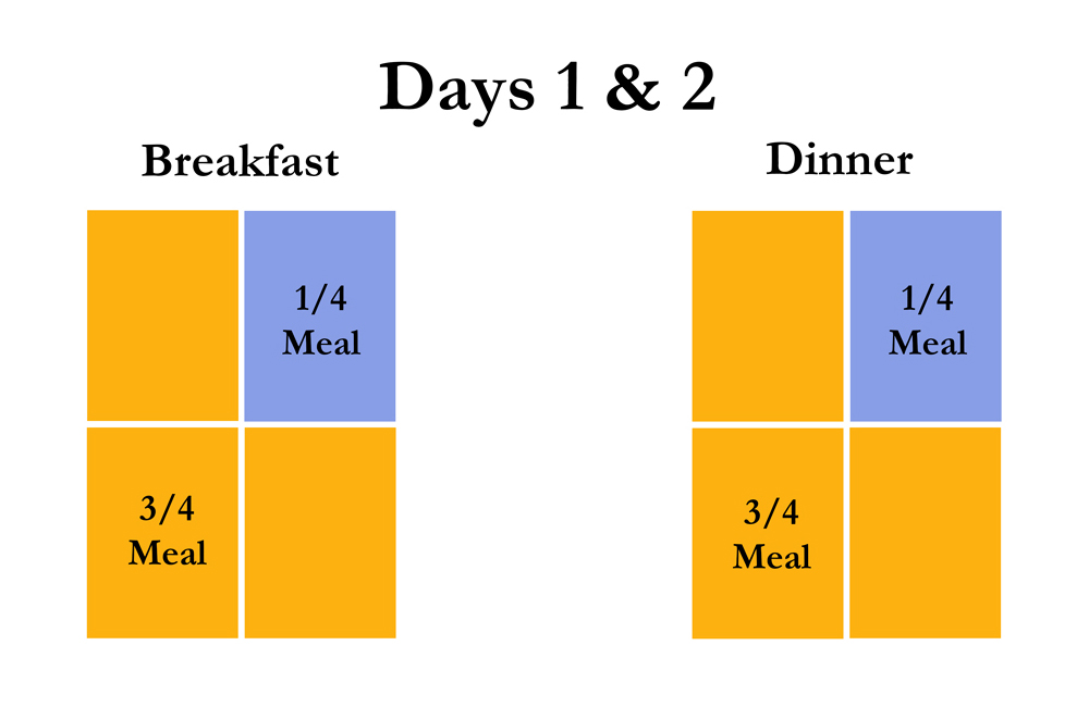 Chart showing how to transition to new dog food