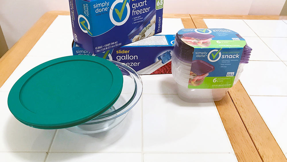 Several options for storage; a glass bowl with lid, plastic disposable containers, and zip style bags.
