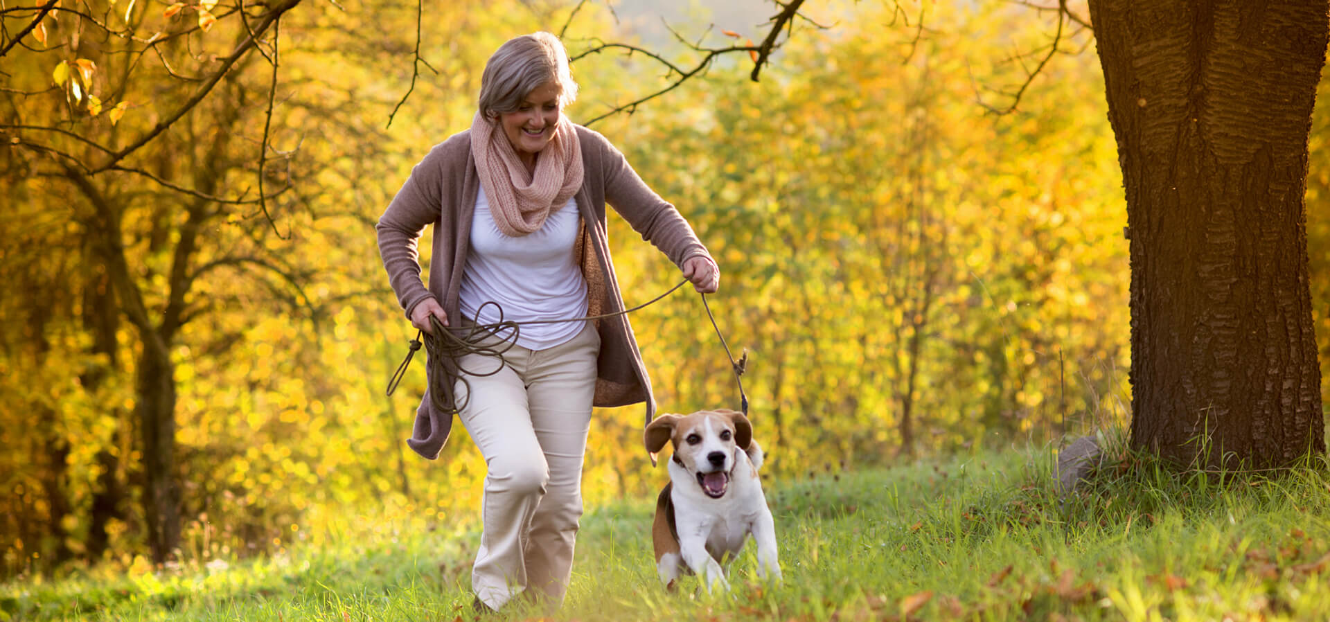 A senior woman runs with her dog in a pleasant fall scene with trees and grass.