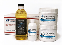 Hearthstone Homemade for Dogs Starter Kit. It contains 2 jars nutrient powder, one bottle Omega 3 oil, one bottle non-GMO soybean oil, and EZ Meal Planner.