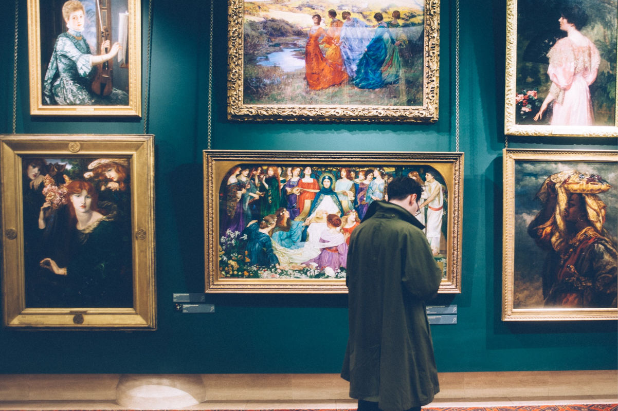A classical art display at a museum