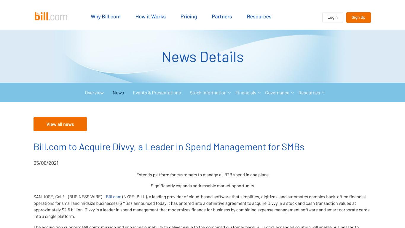 Bill.com Divvy Acquisition